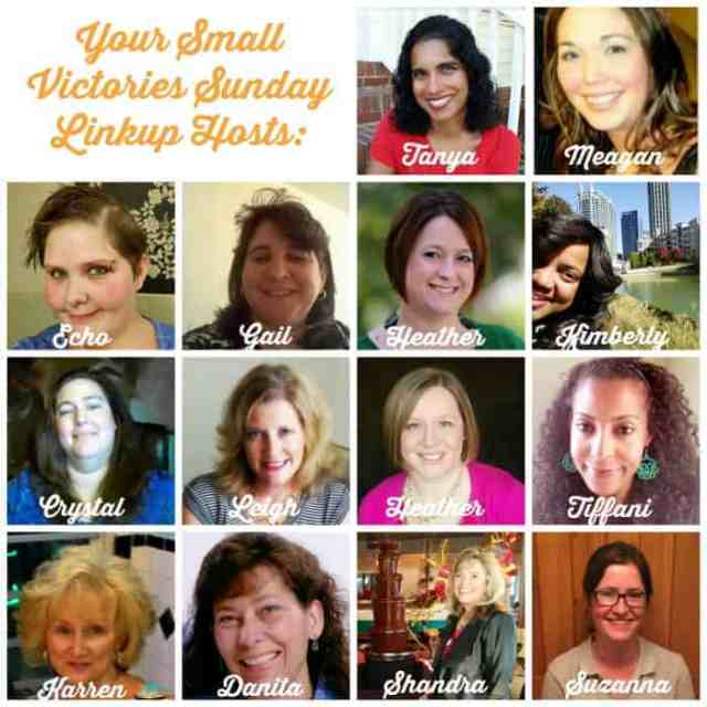 Your Small Victories Sunday Linkup Hosts: Mom's Small Victories, Sunshine and Sippy Cups, The Mad Mommy, Frugal & Coupon Crazy, GeminiRed Creations, Keystrokes by Kimberly, Tidbits of Experience, Hines-Sight Blog, Simply Save, All Inspired Mom, Oh My Heartsie Girl, O Taste and See, Shandra from With Heart Wide Open and One Hoolie Mama