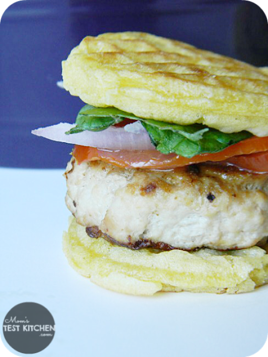Maple Chicken & Waffle Mini Burgers | www.momstestkitchen.com | #WaffleWednesdays