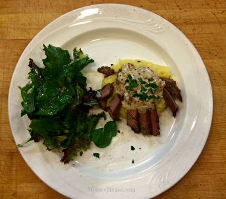 Gourmet Cooking for Beginners-Nothing To It. Pan Seared Beef Tenderloin with Brandy Mustard Sauce, Field Green Salad with Homemade Vinaigrette