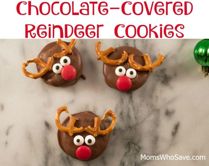 chocolate covered reindeer cookies