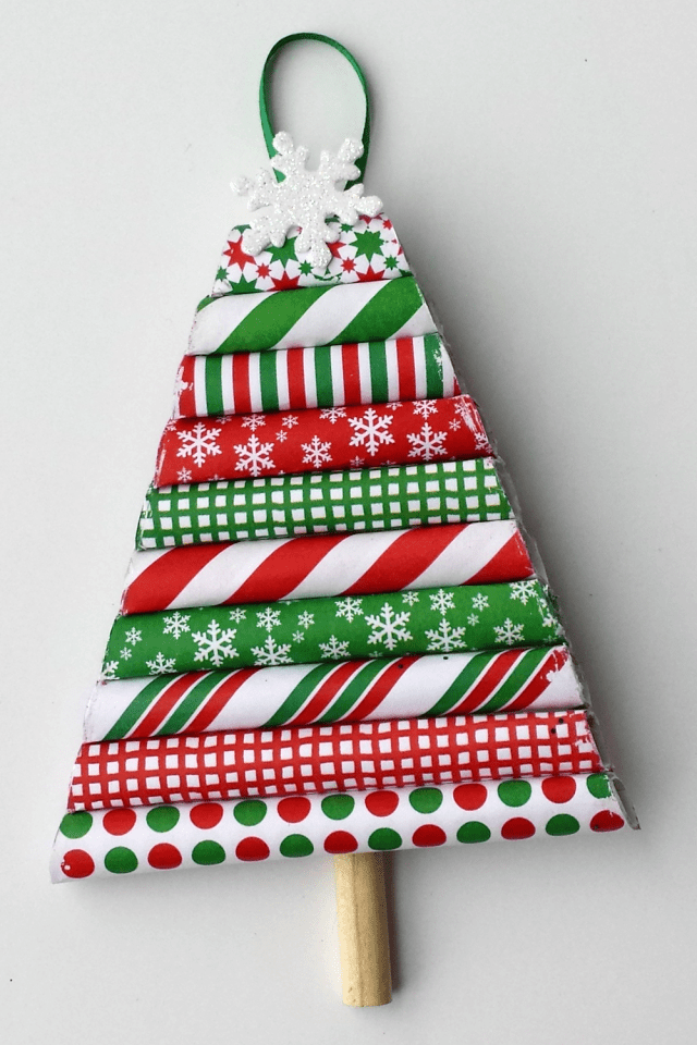 wrapping paper holiday ornament diy