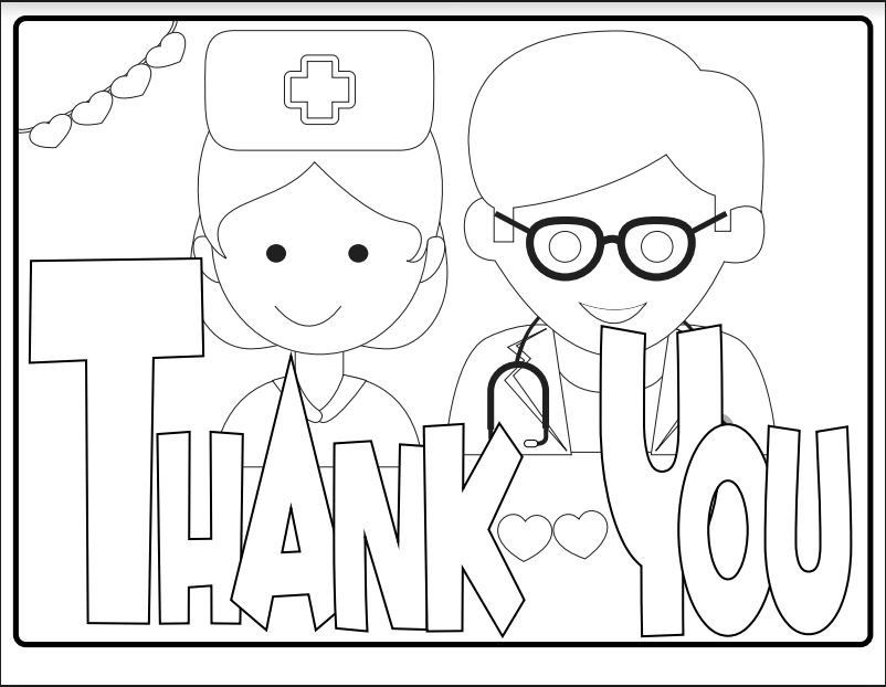 Free Kids' Coloring Page — Thank You Health Care Workers