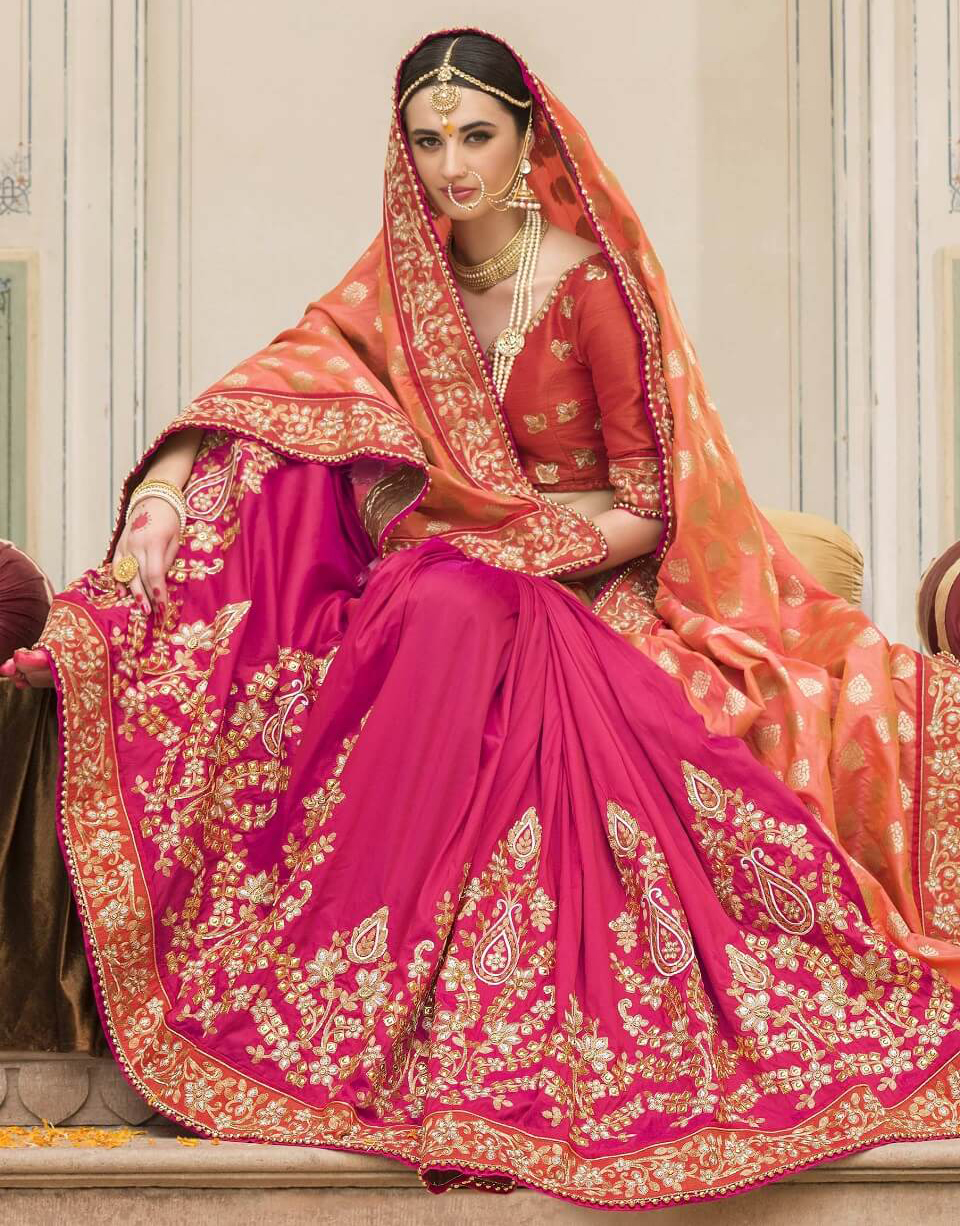 Bride with pick lehenga
