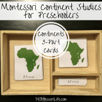 Montessori Continent Studies for Preschoolers -- Continents 3-Part Cards