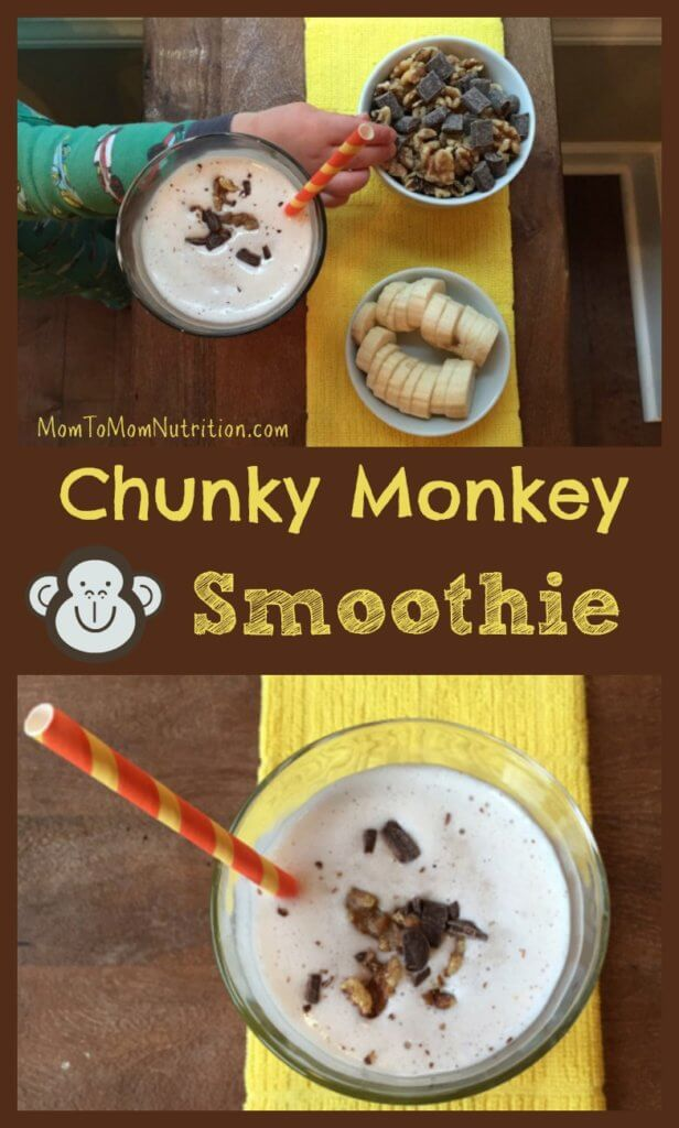 The classic Ben and Jerry's ice cream is recreated into a healthier snack-worthy chunky monkey smoothie recipe.