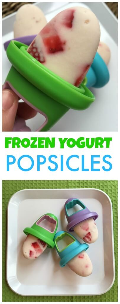 Frozen yogurt popsicles made with vanilla greek yogurt and fresh strawberries