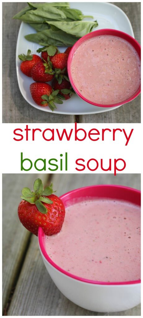 Chilled strawberry basil soup is a light and refreshing soup for any warm weather occasion!