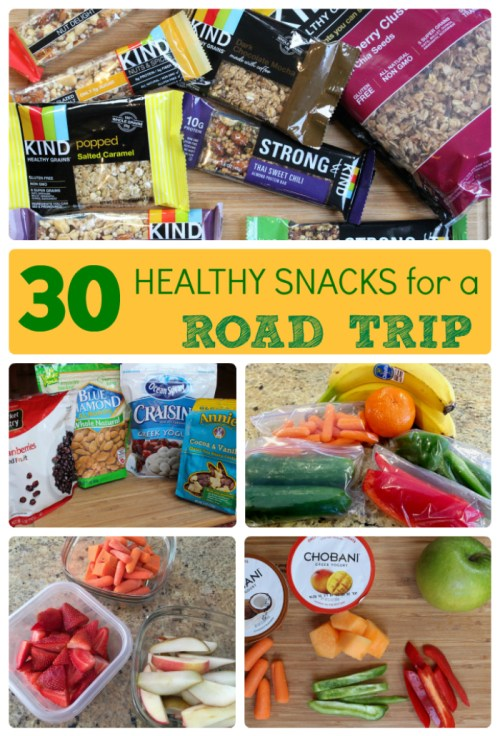 From fresh fruit to whole grain cereal, keep your family full and satisfied with a balance of sweet and savory healthy snacks for a road trip.