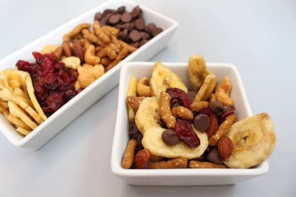 Nuts, dried fruit and chocolate chips make the ultimate homemade snack mix!