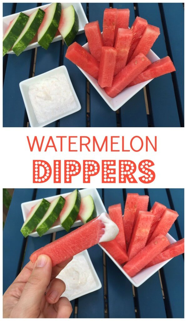 Watermelon Dippers with Honey Vanilla Yogurt Sauce make the perfect snack or dessert that both kids and adults are sure to love!