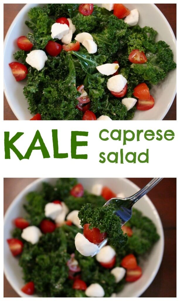 Kale Caprese Salad is a fresh take on the Italian classic, filled with kale, basil, tomatoes, mozzarella and a light vinaigrette.