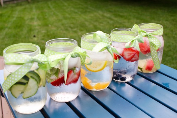 Fruit flavored water is naturally flavored with fresh fruit and herbs and sure to quench your thirst in a healthy, refreshing way!