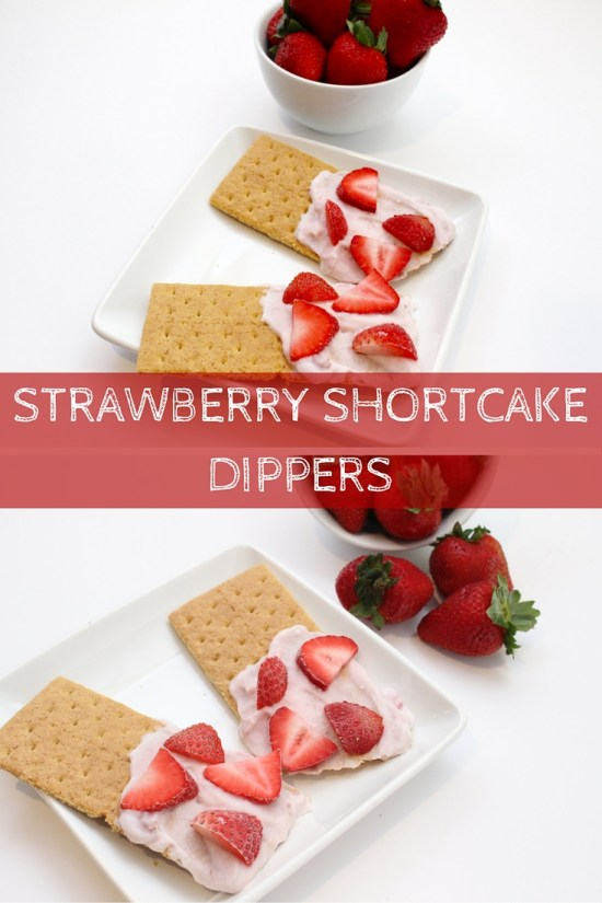 Snacking just got sweeter and healthier with strawberry shortcake dippers. Strawberry yogurt and graham crackers make one simple, kid-friendly snack that tastes just like strawberry shortcake!