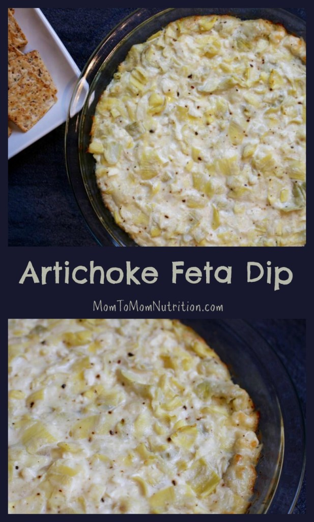 Artichoke feta dip is a savory, creamy hot appetizer perfect for any party or celebration. Serve with crackers, crusty bread, or mix in mini phyllo cups!