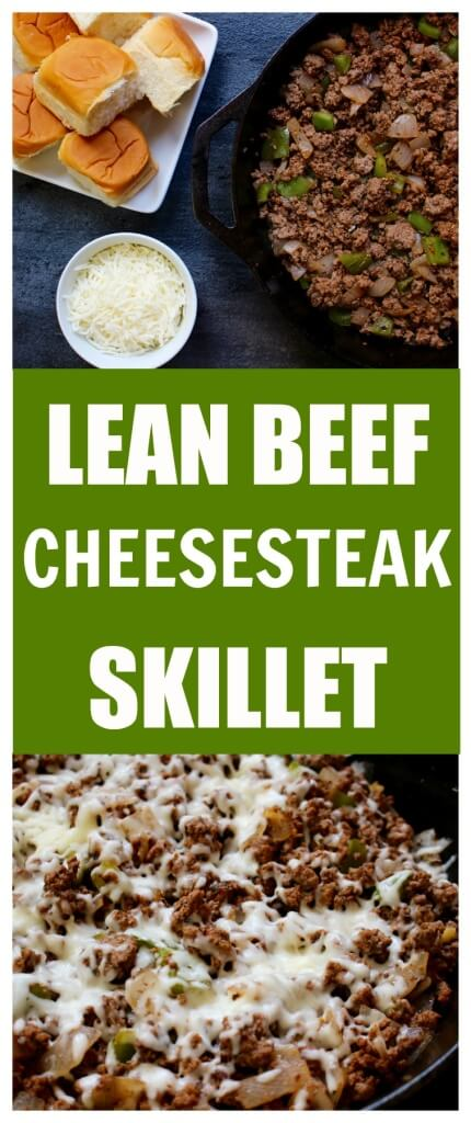 A lightened-up version of the classic Philly cheesesteak sandwich. Made in under 20 minutes, Lean Beef Cheesesteak Skillet is a simple weeknight meal that's high in protein and low in cost.