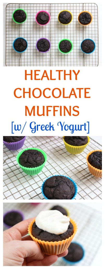 Healthy Chocolate Muffins are made with simple ingredients like cocoa powder, banana, and Greek yogurt, making the perfect mix for a moist and somewhat dense muffin! #healthychocolatemuffins #healthymuffinrecipes #greekyogurtrecipes #thebestchocolatemuffins #breakfastrecipes #chocolatemuffins #dessertrecipes