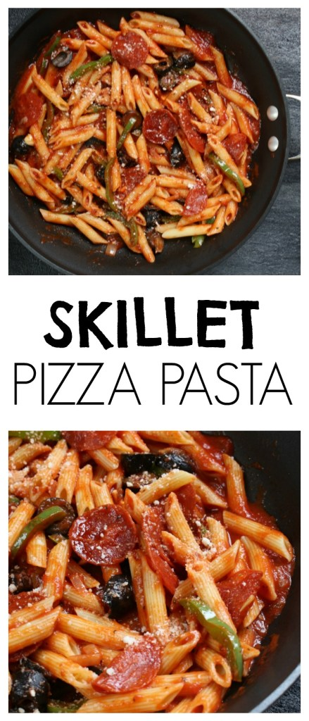 Skillet Pizza Pasta is a one pot meal that any pizza-loving family will enjoy! Ready in the amount of time it takes your pasta to cook, this easy weeknight meal is go-to dinner in our house!
