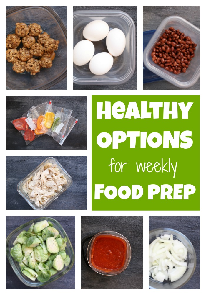 All it takes is a little planning and about an hour of your time to make weekly food prep a reality and healthy eating the outcome. Here is a list of healthy foods you'll routinely find in my grocery cart and prepped on the weekend for a healthy week ahead!
