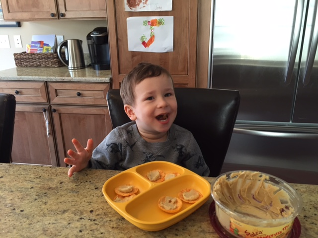More often than not, our afternoon snack in the Serbinski house involves hummus! And silly faces.