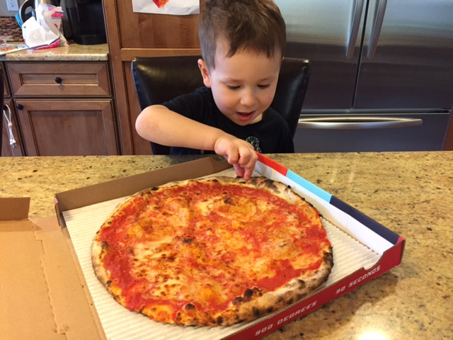 Dinner was PIZZA! The boys had a busy lunch time at a friends birthday party but they came home to one of their favorites for dinner...