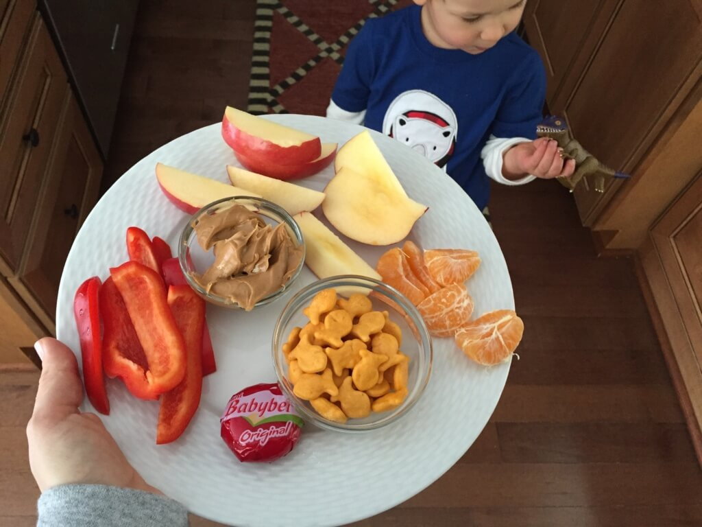 Sometimes our mid-afternoon snack is this fancy feast... especially when Mom is sharing!