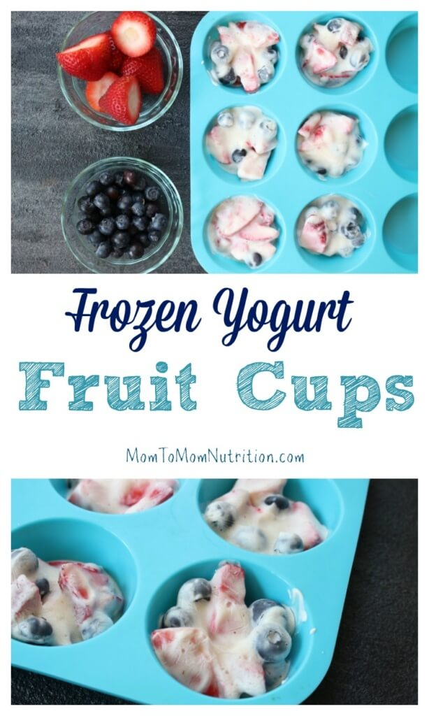 Frozen yogurt fruit cups are a fun cup-sized Greek yogurt and fruit snack that make a great alternative frozen sweet treat to popsicles or ice cream!
