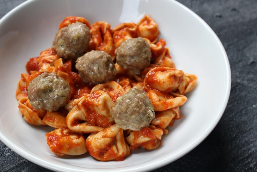 Turkey Pesto Meatballs are made with just four ingredients and make the perfect healthy protein for meatball subs or served with marinara and whole grain pasta for a simple weeknight meal.