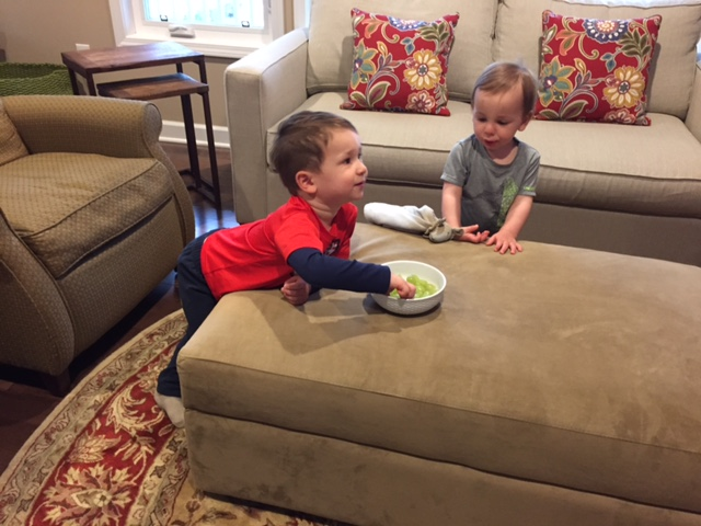 Not my best move, but when we come home from a trip to Kroger I put on a show while I unload groceries... and let them snack on some of the fruit we picked up! Note to self: The boys will eat most fruits and veggies when the TV is on. Remember, I said this isn't my best move... but it's reality!