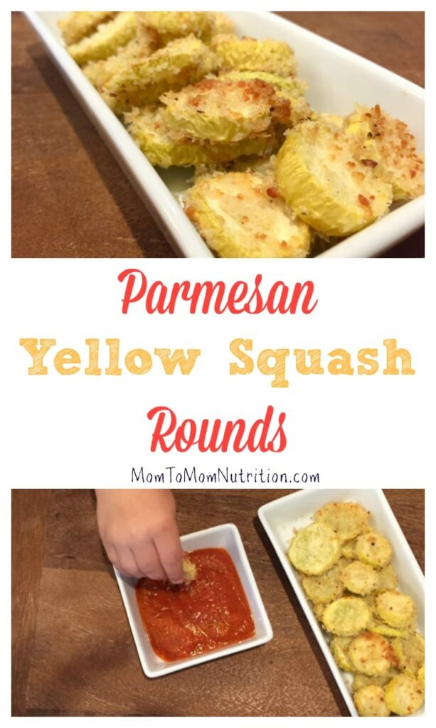 Parmesan yellow squash rounds make the perfect veggie for dipping. Get your kids involved in the kitchen by having them help bread and coat the rounds!