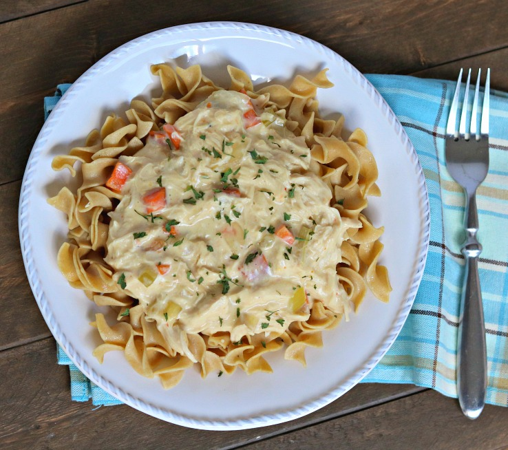 Slow Cooker Creamy Chicken and Noodles tastes like everyone's favorite chicken noodle soup but in creamy, melt in your mouth form!