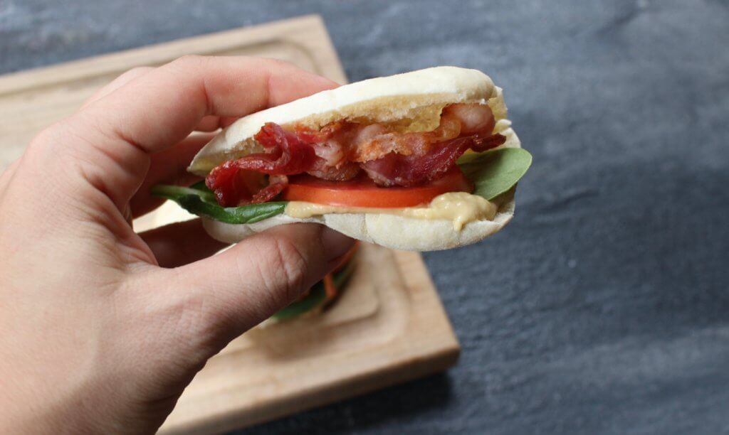 BLT Pita Pockets pack a punch of flavor for a quick and easy classic bacon, lettuce, and tomato sandwich with a simple hummus spread. Great for a quick school or work lunch!