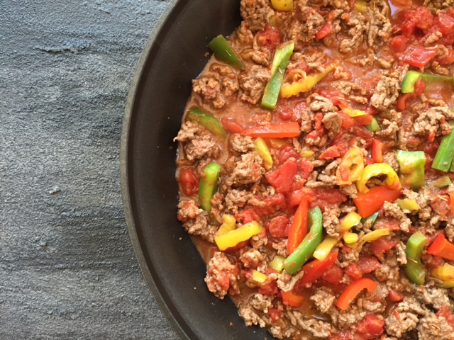 Italian Beef Skillet is a 20-minute dinner made with lean Ground Beef and lots of fresh peppers, making it a hearty and healthy weeknight meal.