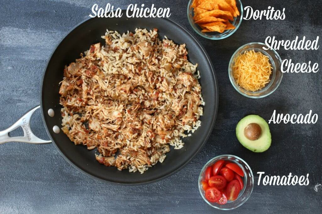 Salsa chicken skillet combines your favorite salsa and shredded chicken for one easy, make-ahead weeknight meal!