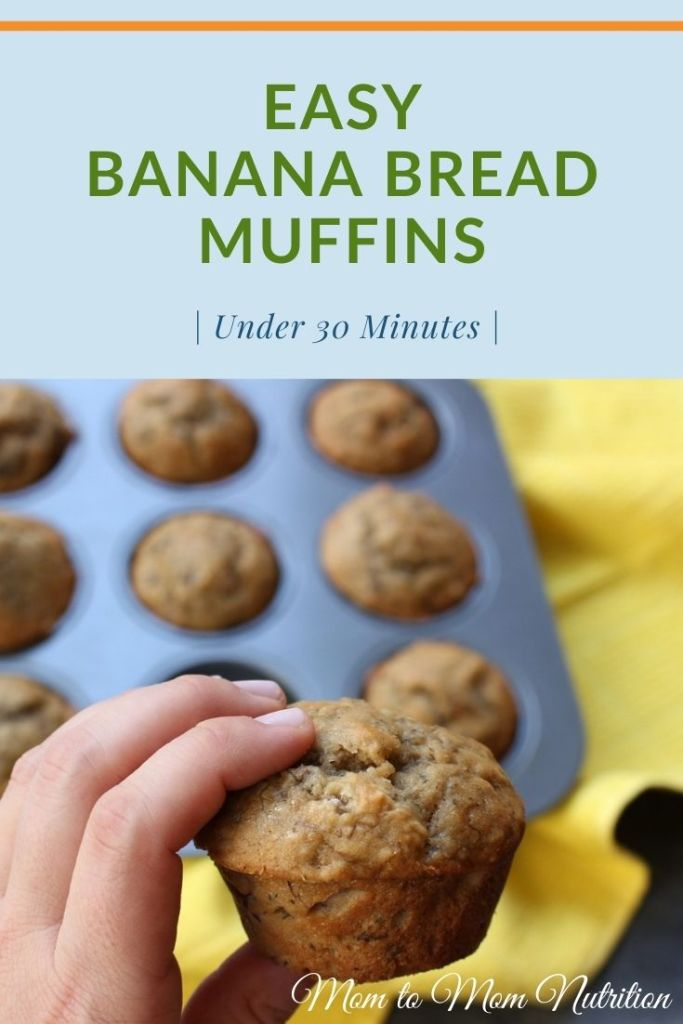 Love banana bread? Then you have to make these super simple banana bread muffins that bake a whole lot faster and taste like the real thing! #bananabreadmuffinseasy #bananabreadrecipes #bananabreadbreakfast #kidfriendlybreakfast #kidfriendlyrecipes #onthegobreakfast #onthegosnack #kidfriendlysnacks #under30minuterecipes