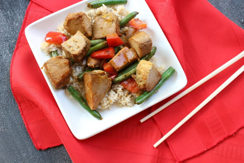 Ginger Pork Stir-Fry is a one pot meal with a simple stir-fry sauce made with Truvia® Nectar. It truly satisfies and meets the criteria for an easy weeknight meal.
