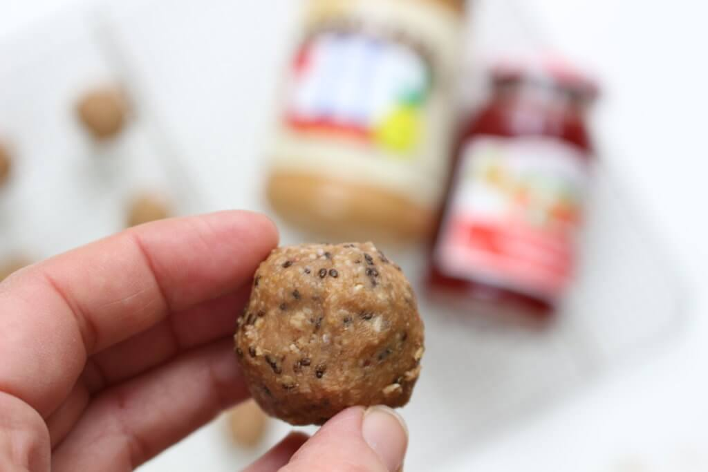 PB & J Bites make a great grab-and-go snack to have on hand or stock your freezer with. Filled with the flavors of the traditional lunchtime sandwich but in a snack, bite-size!