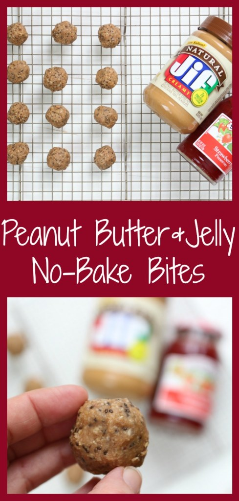 PB & J Bites make a great grab-and-go snack to have on hand or stock your freezer with. Filled with the flavors of the traditional lunchtime sandwich but in a snack, bite-size! #pbjenergybites #nobakepbjbites #nobakepbjenergybites #pbjoatmealbites #pbjproteinbites #pbjoatmealbites #healthynobakesnack #pbjsnackbites #healthysnackbites