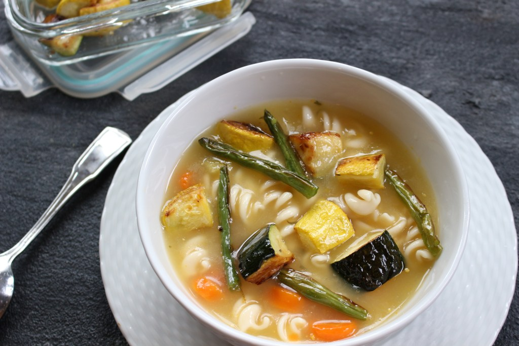 Cook once and dine twice with a big batch of roasted vegetables. And make the most of the leftovers by adding them to a simple chicken soup!