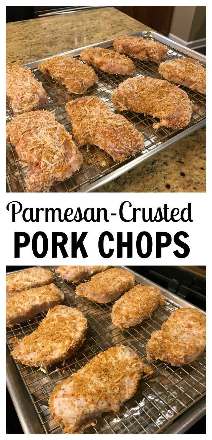 All you need is 4 ingredients to make these parmesan crusted pork chops. Served alongside roasted broccoli or sautéed zucchini and dinner couldn't get any easier!