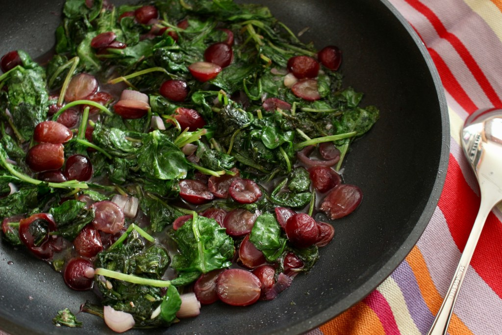 Kale grape skillet is a heart-healthy side dish made with fresh kale leaves and a simple, nutritious, 100% Welch's Grape Juice sauce.