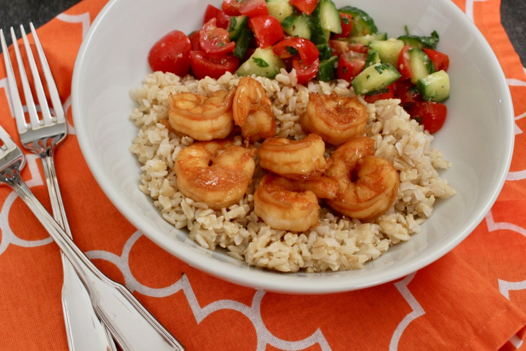 Honey garlic shrimp make the perfect weeknight meal. Use as a filling for tacos, or eat as-is with your favorite fresh salsa and brown rice.