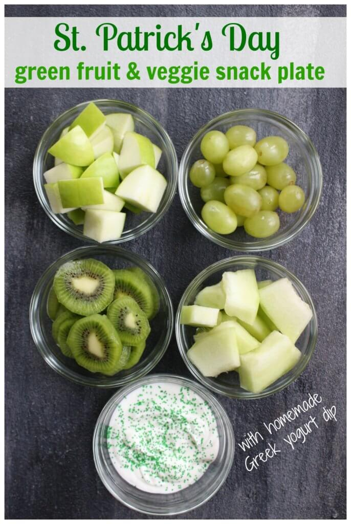 Get your kids in the holiday spirit with this St. Patrick's Day snack idea. All you need is your favorite green fruits and veggies and favorite dip!