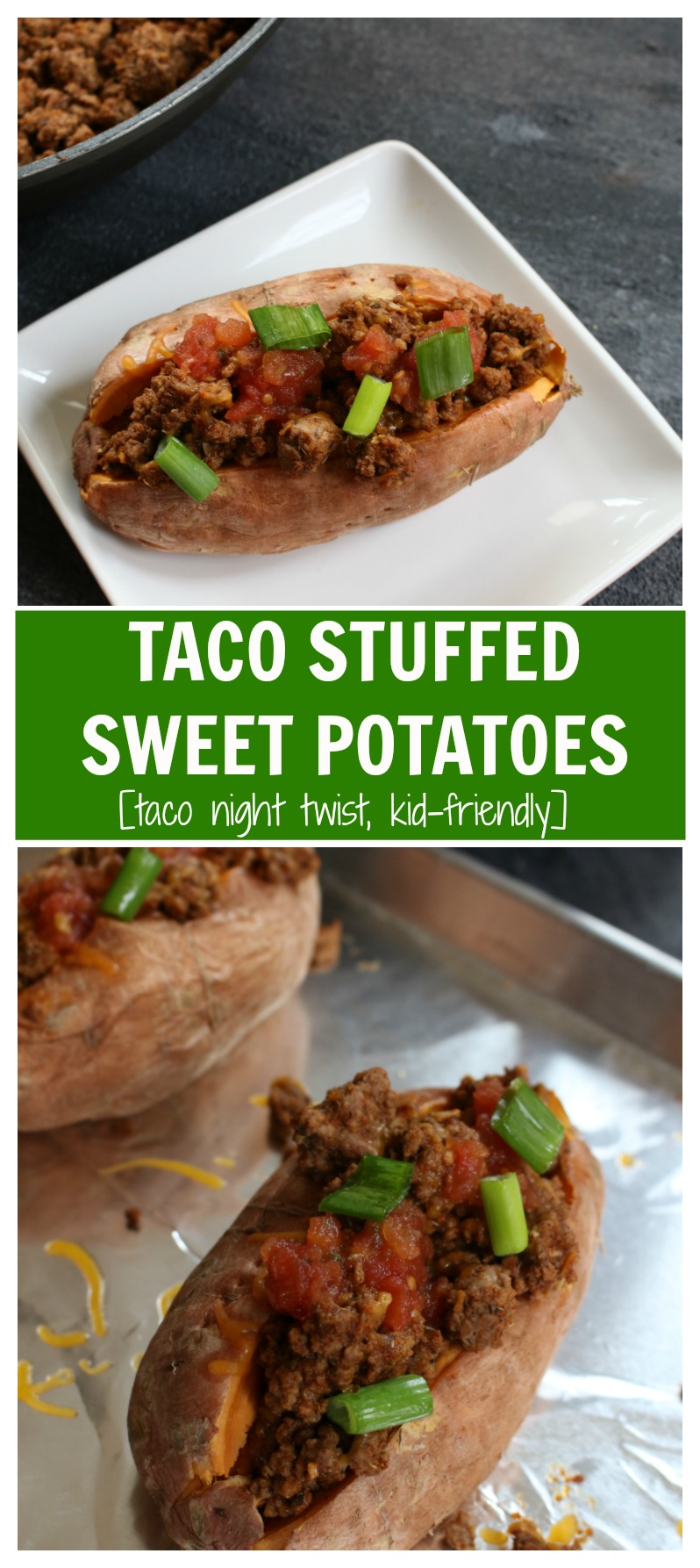 Taco stuffed sweet potatoes combine your favorite taco toppings with a nutritious sweet potato as a healthy base! Make this meal even quicker by cooking the sweet potatoes ahead of time.