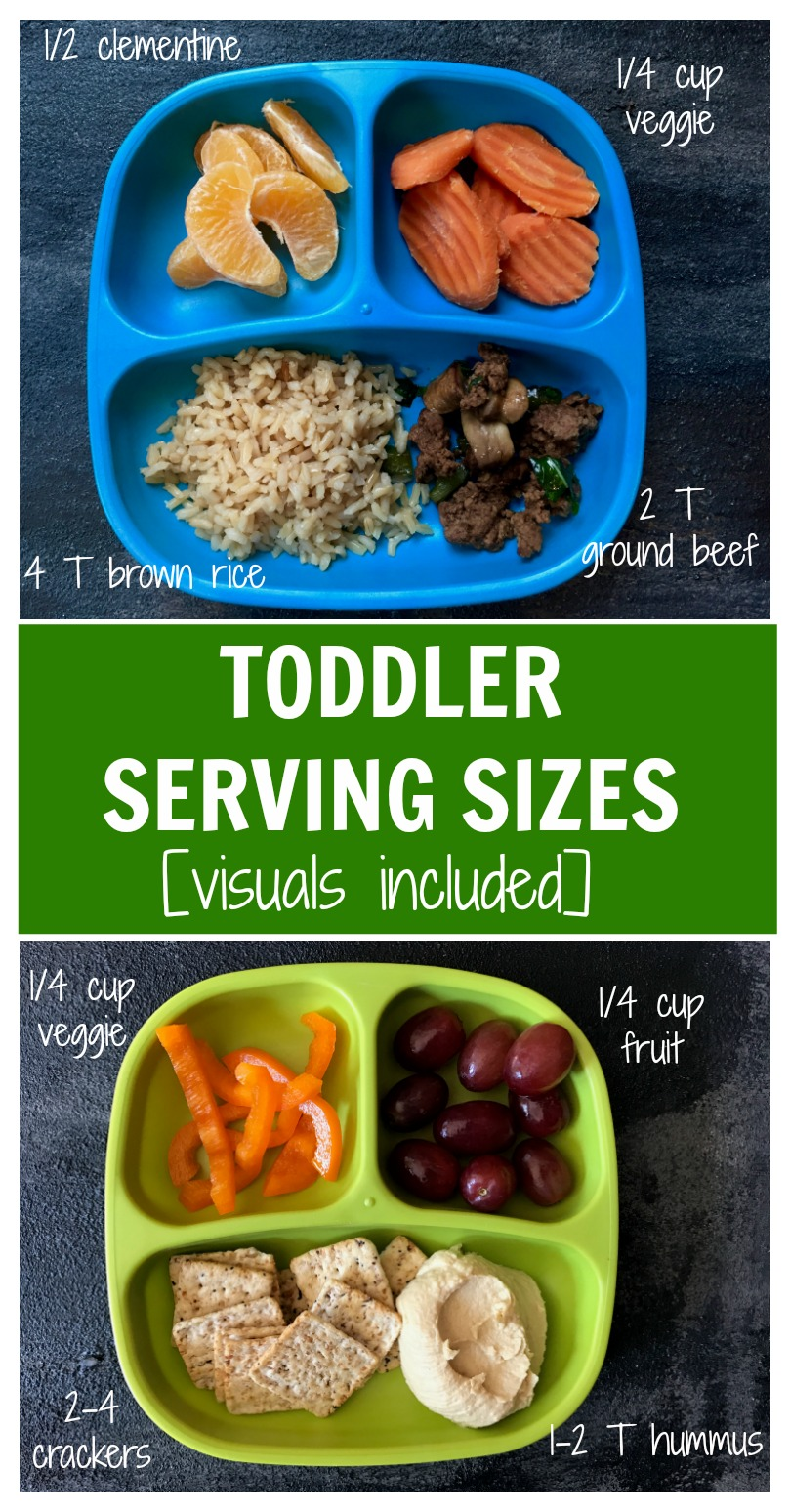 Learn what and how much your toddler should be eating with actual pictures of toddler serving sizes.