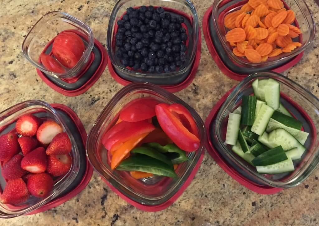 Produce prep is one way I make sure my family eats a variety of fruits and vegetables each week. One hour of washing and chopping produce each week helps with meal and snacks!