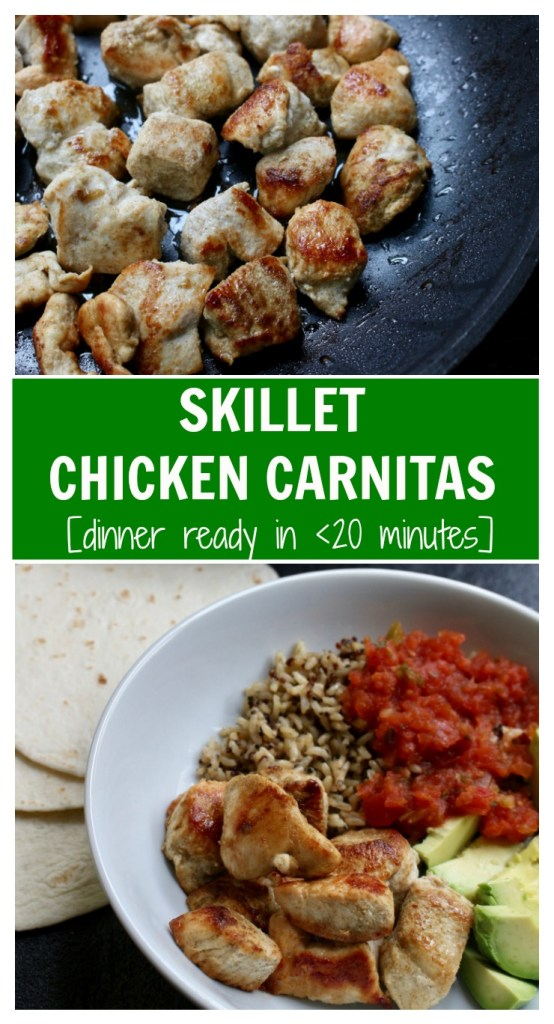 Skillet chicken carnitas are a family-friendly spin on the classic pork carnitas recipe, made with fresh flavors like orange juice, cumin, and garlic!