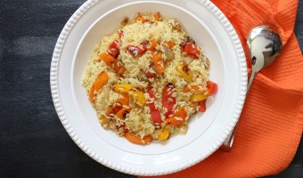 Orzo Salad with Bell Peppers and Garlic Dressing