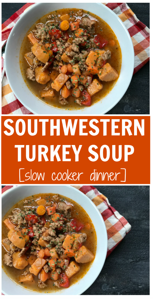 Tex-Mex flavors and the ease of using your slow cooker make this Southwestern Turkey Soup a comforting meal any night of the week!