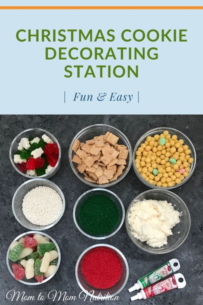 A Christmas Cookie Decorating Station is a simple, fun holiday-inspired activity for kids of all ages. Assemble the station based on your family's preferences for cookies, frosting, and toppings!#christmascookiedecoratingstation #decoratingstation #christmascookies #kidfriendly #kidfriendlyactivities #rdapproved