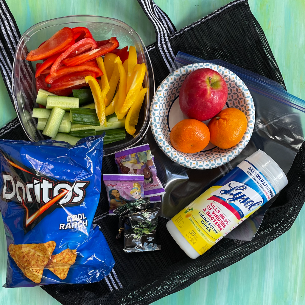 Snacks for kids going to the beach, park, pool on a table.